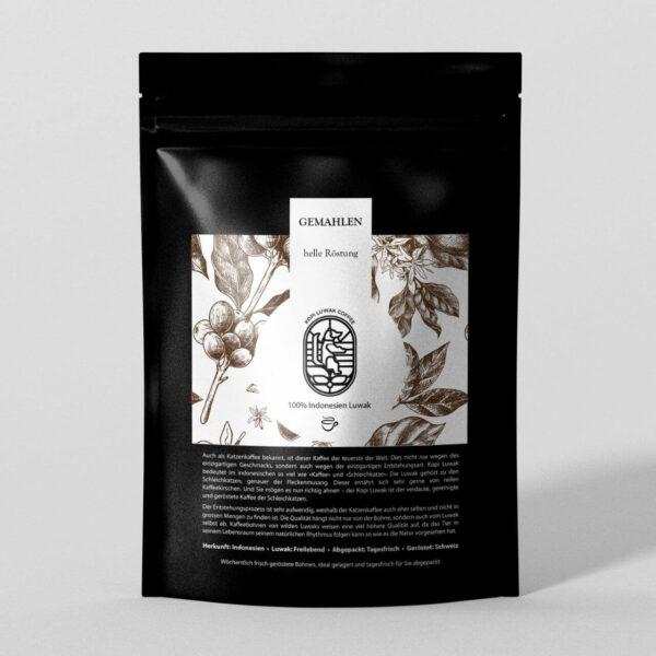 Kopi Luwak Kaffee gemahlen helle Röstung